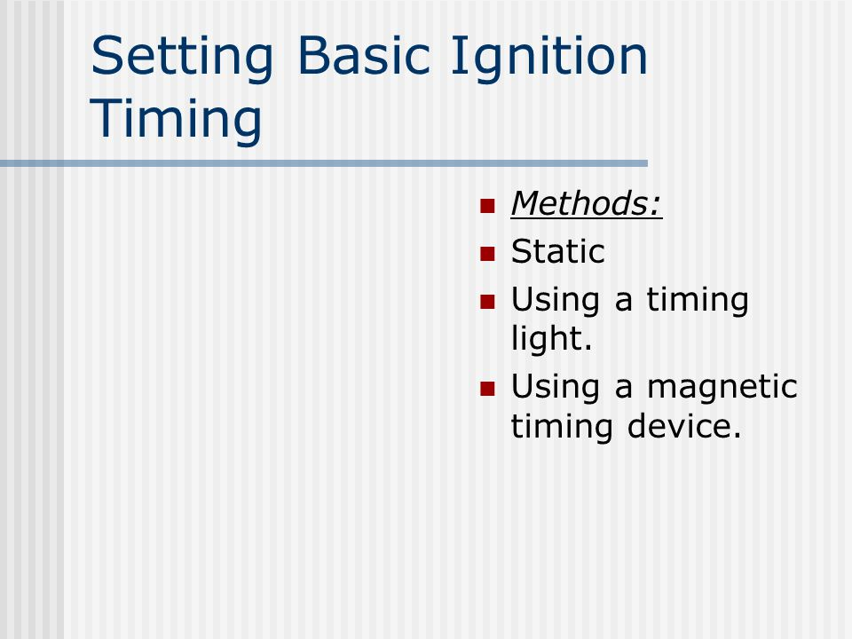 Setting Basic Ignition Timing