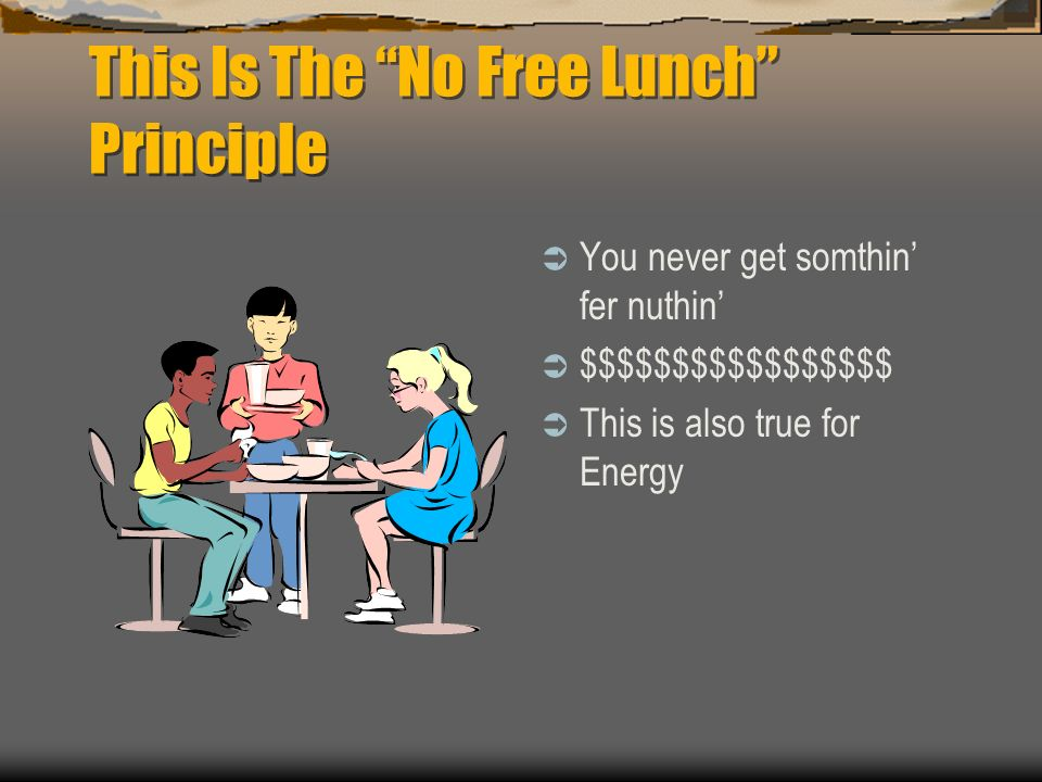This Is The No Free Lunch Principle
