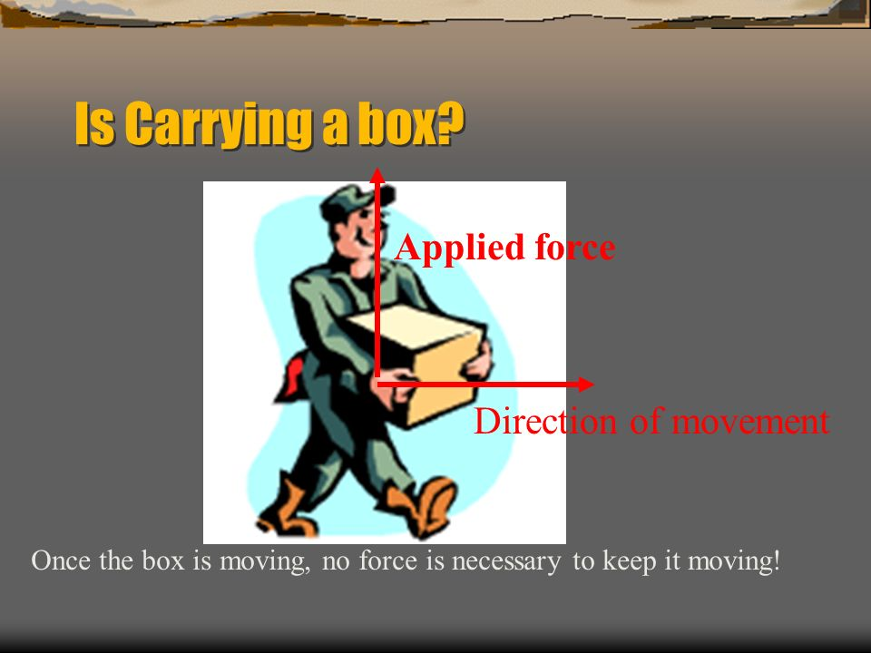 Is Carrying a box Applied force Direction of movement
