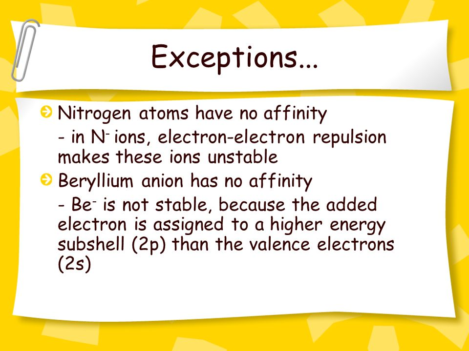 Exceptions... Nitrogen atoms have no affinity