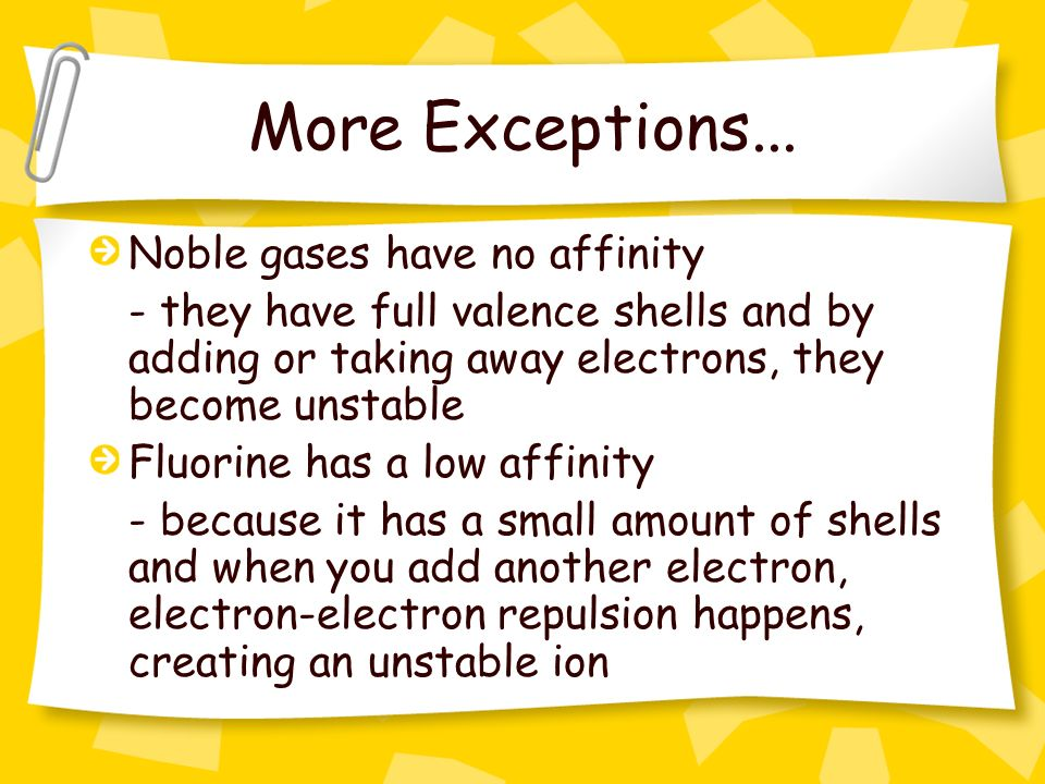 More Exceptions... Noble gases have no affinity