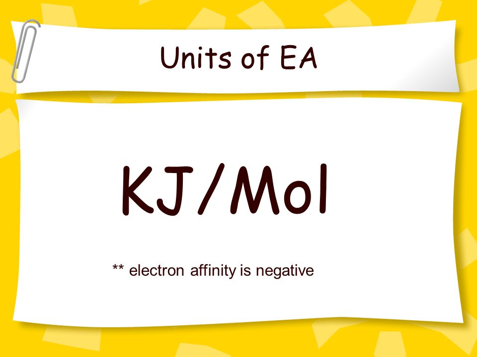 Units of EA KJ/Mol ** electron affinity is negative