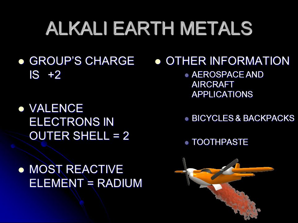 ALKALI EARTH METALS GROUP'S CHARGE IS +2