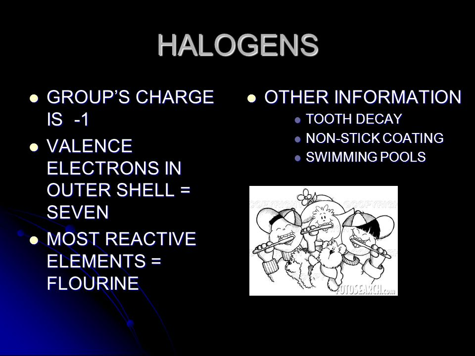 HALOGENS GROUP'S CHARGE IS -1 VALENCE ELECTRONS IN OUTER SHELL = SEVEN