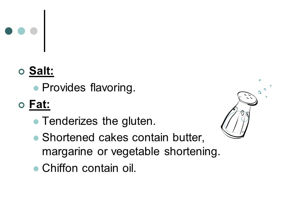 Salt: Provides flavoring. Fat: Tenderizes the gluten. Shortened cakes contain butter, margarine or vegetable shortening.