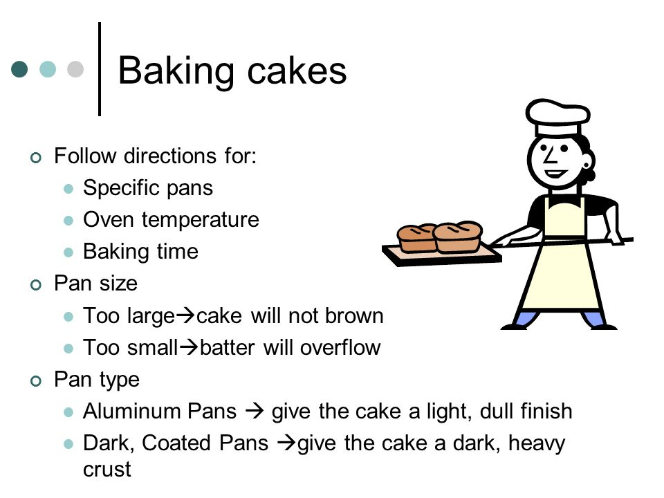 Baking cakes Follow directions for: Specific pans Oven temperature