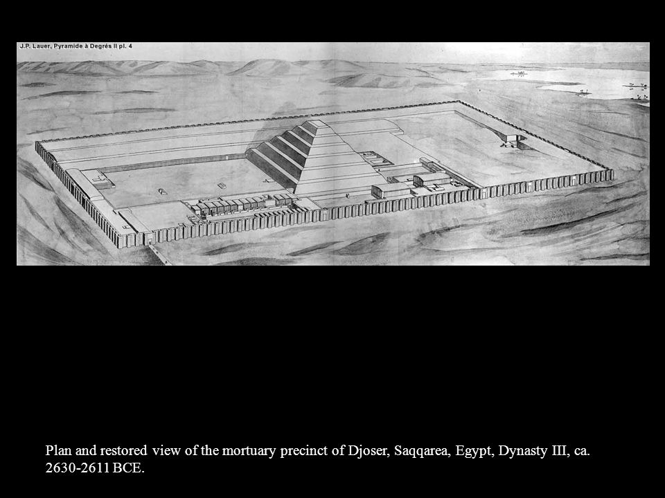 Plan and restored view of the mortuary precinct of Djoser, Saqqarea, Egypt, Dynasty III, ca.