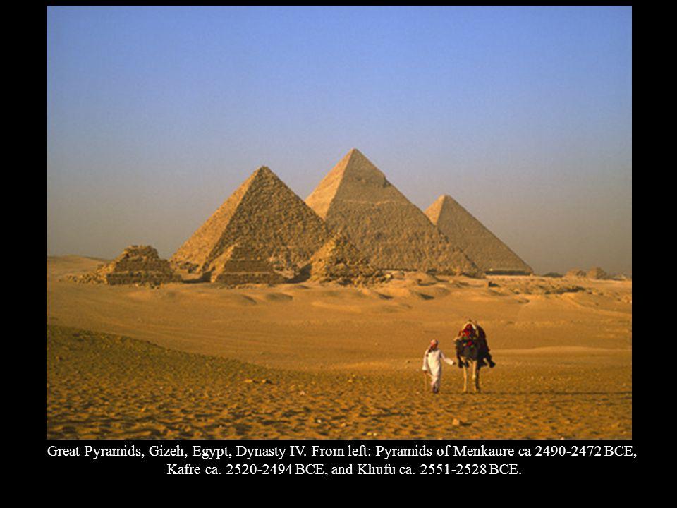 Kafre ca. 2520-2494 BCE, and Khufu ca. 2551-2528 BCE.