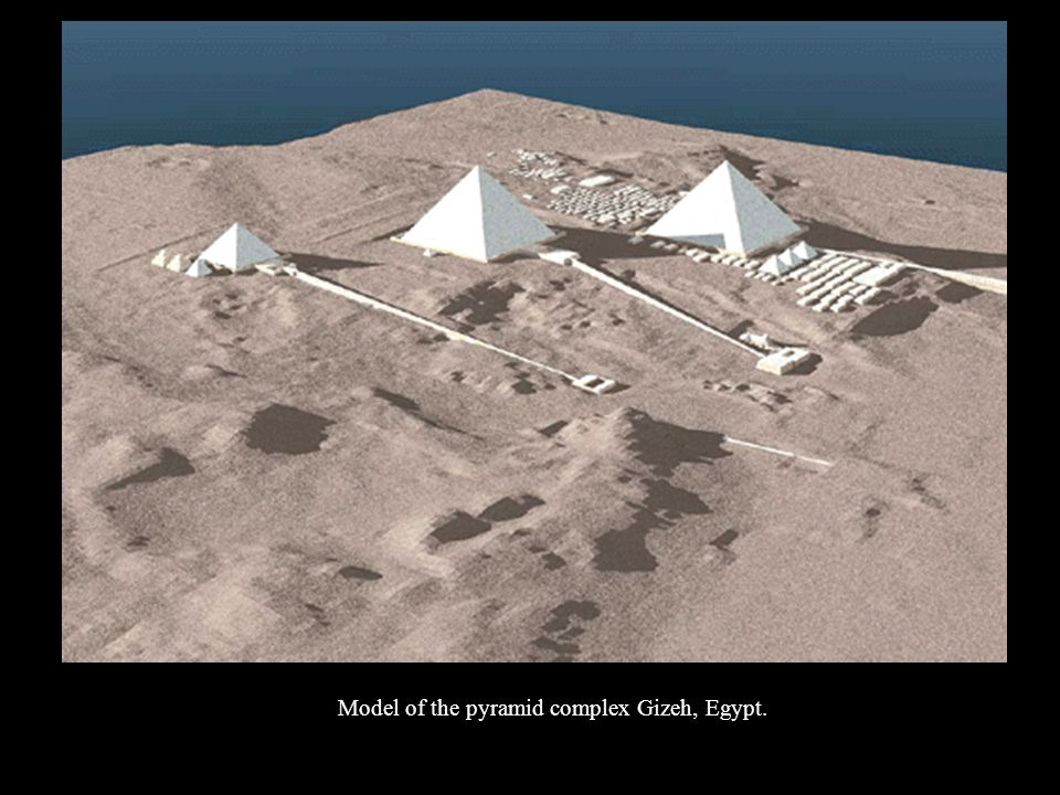 Model of the pyramid complex Gizeh, Egypt.