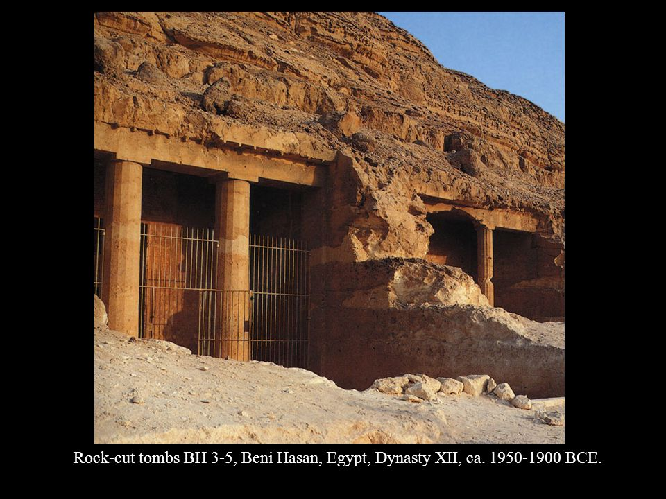 Rock-cut tombs BH 3-5, Beni Hasan, Egypt, Dynasty XII, ca