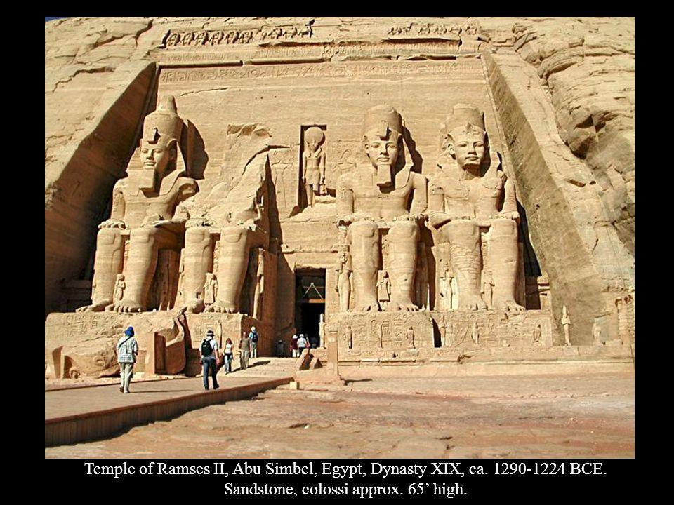 Sandstone, colossi approx. 65' high.