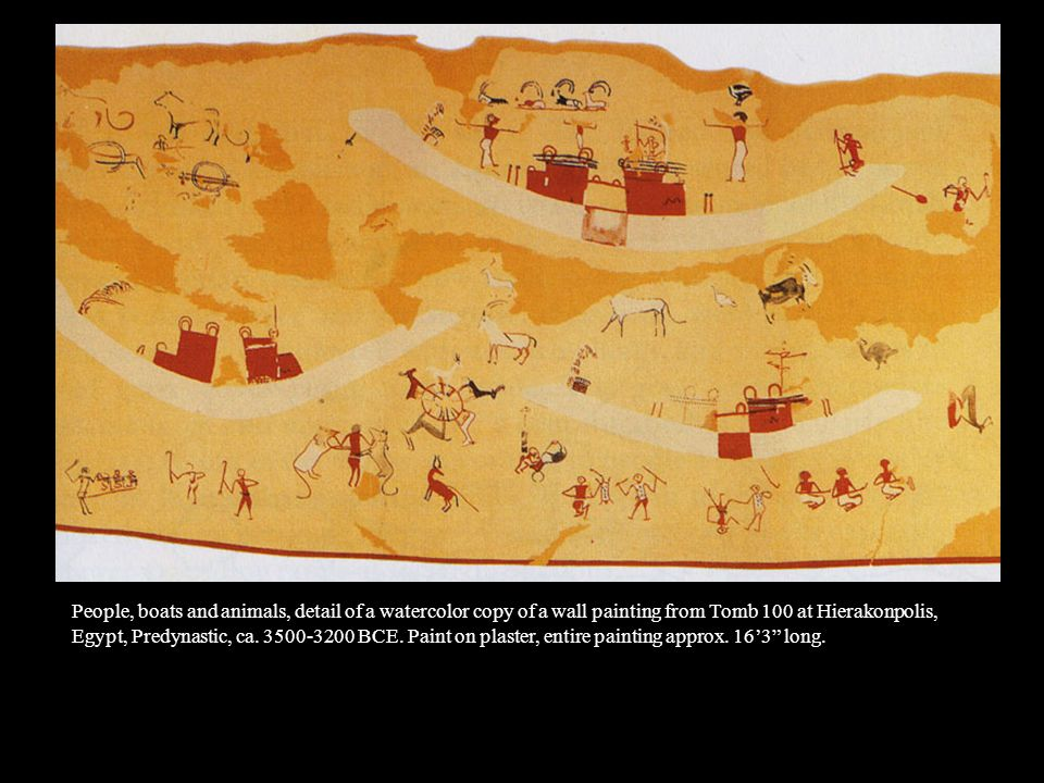 People, boats and animals, detail of a watercolor copy of a wall painting from Tomb 100 at Hierakonpolis,