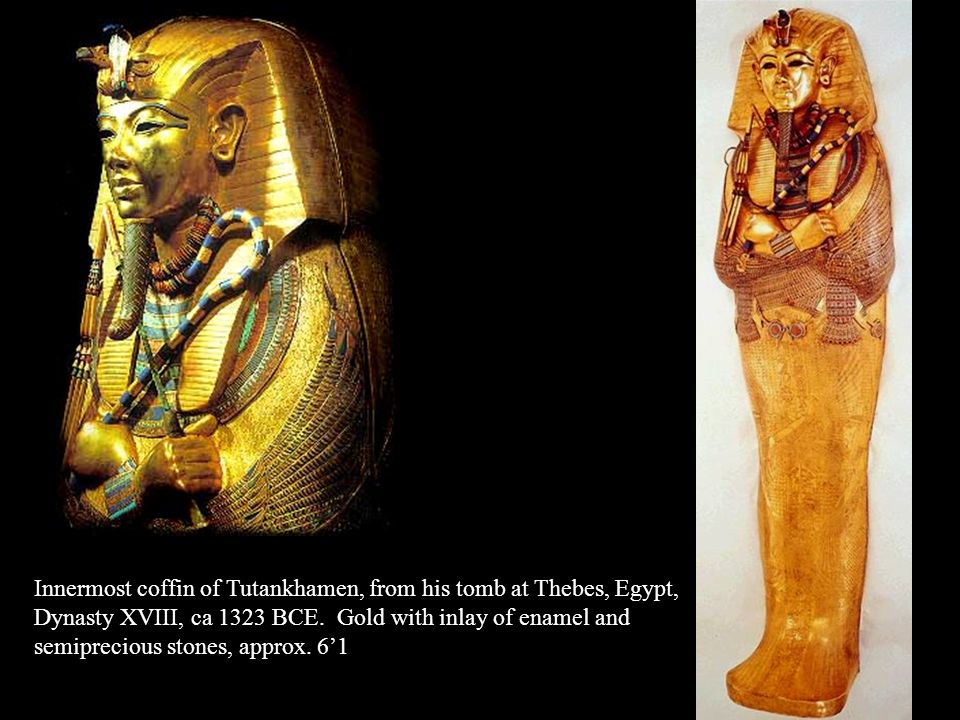 Innermost coffin of Tutankhamen, from his tomb at Thebes, Egypt,