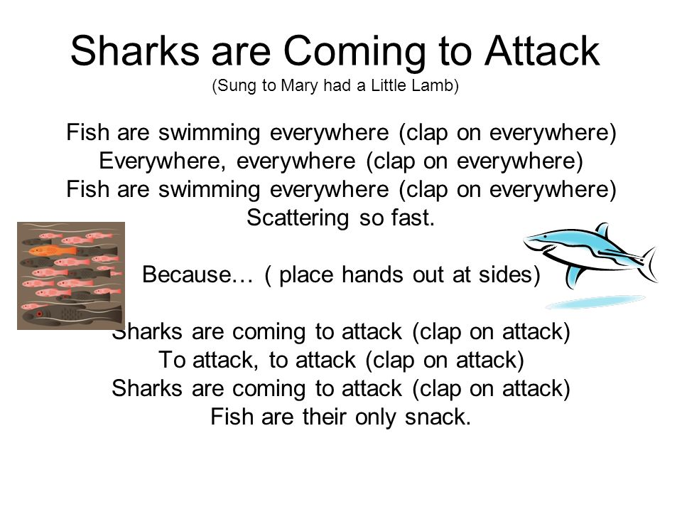 Sharks are Coming to Attack (Sung to Mary had a Little Lamb)