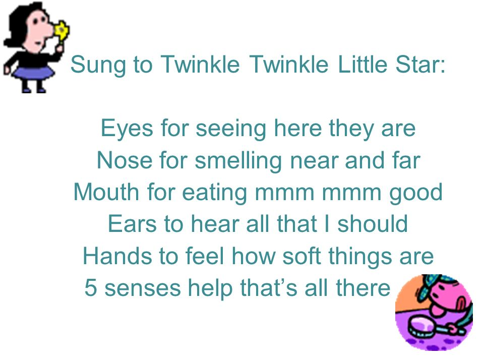 Sung to Twinkle Twinkle Little Star: Eyes for seeing here they are