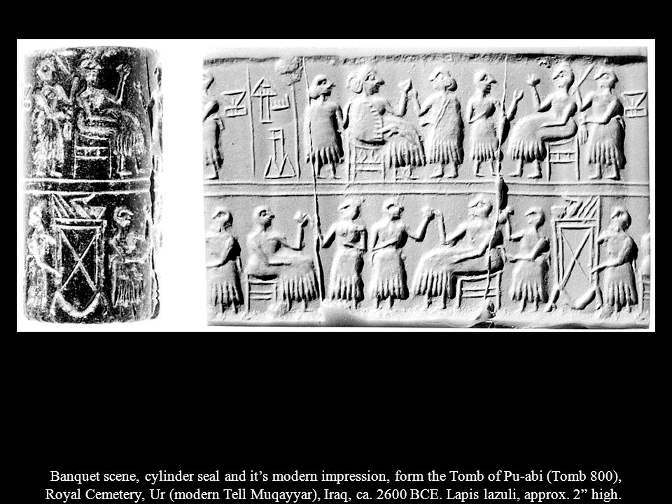 Banquet scene, cylinder seal and it's modern impression, form the Tomb of Pu-abi (Tomb 800),