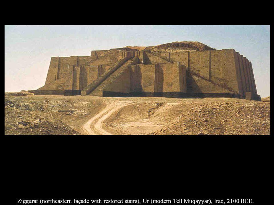 Ziggurat (northeastern façade with restored stairs), Ur (modern Tell Muqayyar), Iraq, 2100 BCE.