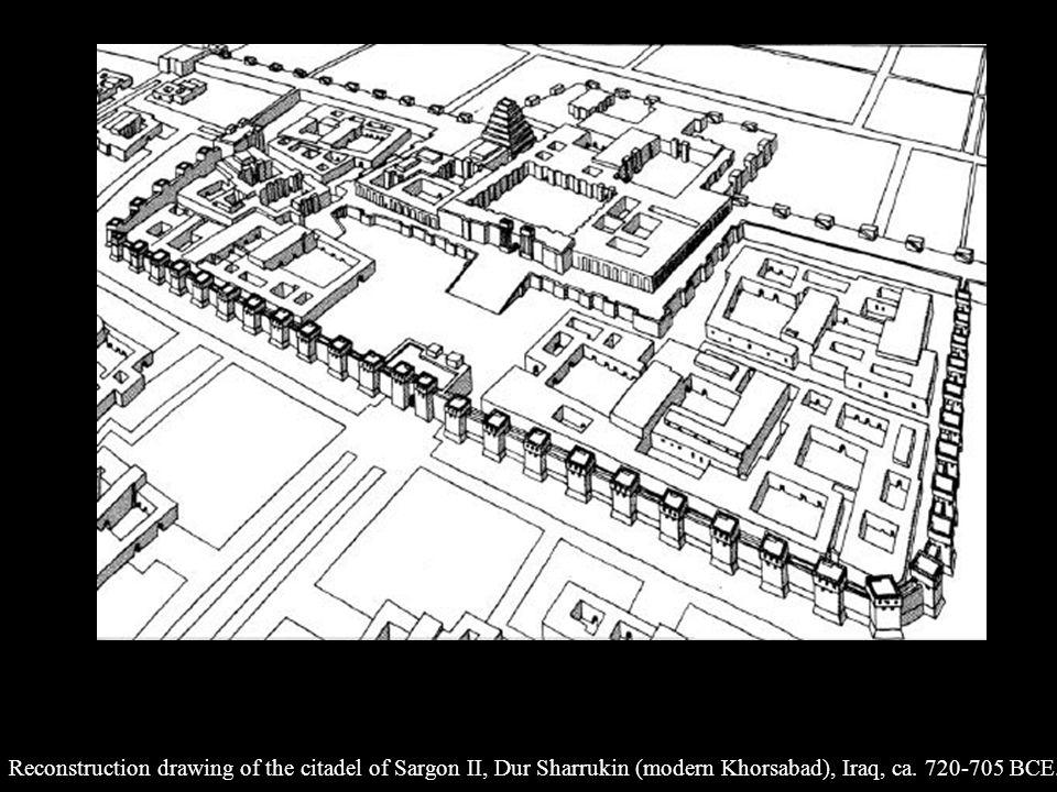 Reconstruction drawing of the citadel of Sargon II, Dur Sharrukin (modern Khorsabad), Iraq, ca.