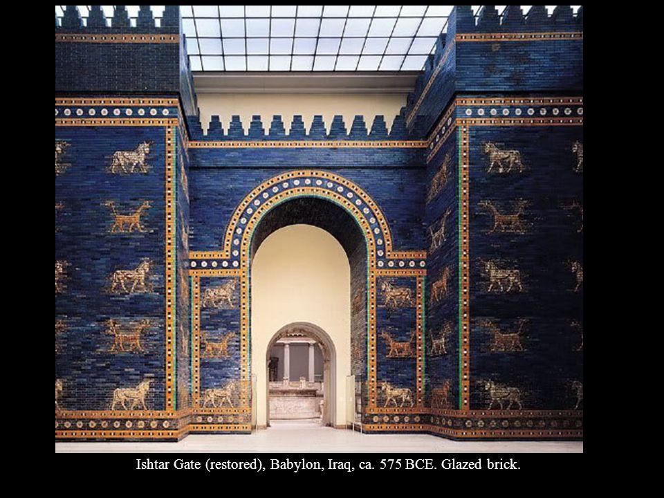 Ishtar Gate (restored), Babylon, Iraq, ca. 575 BCE. Glazed brick.
