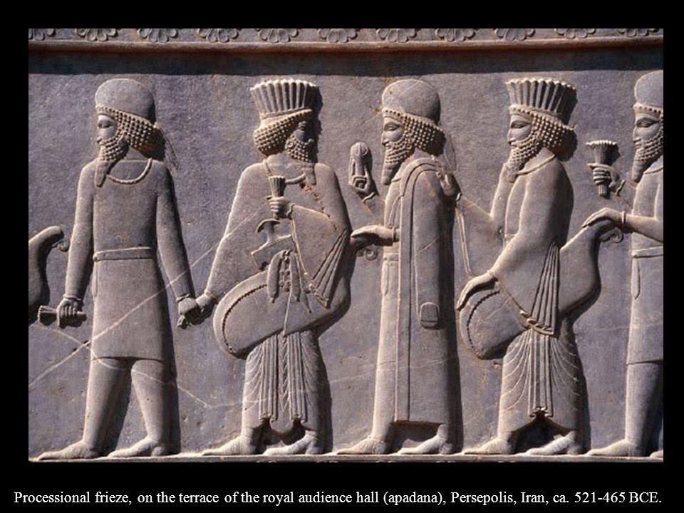 Processional frieze, on the terrace of the royal audience hall (apadana), Persepolis, Iran, ca.