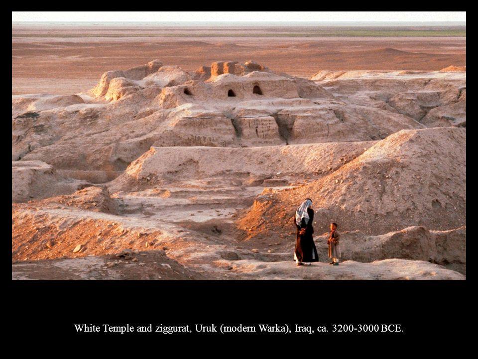 White Temple and ziggurat, Uruk (modern Warka), Iraq, ca. 3200-3000 BCE.