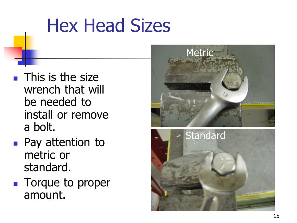 Hex Head Sizes Metric. This is the size wrench that will be needed to install or remove a bolt. Pay attention to metric or standard.