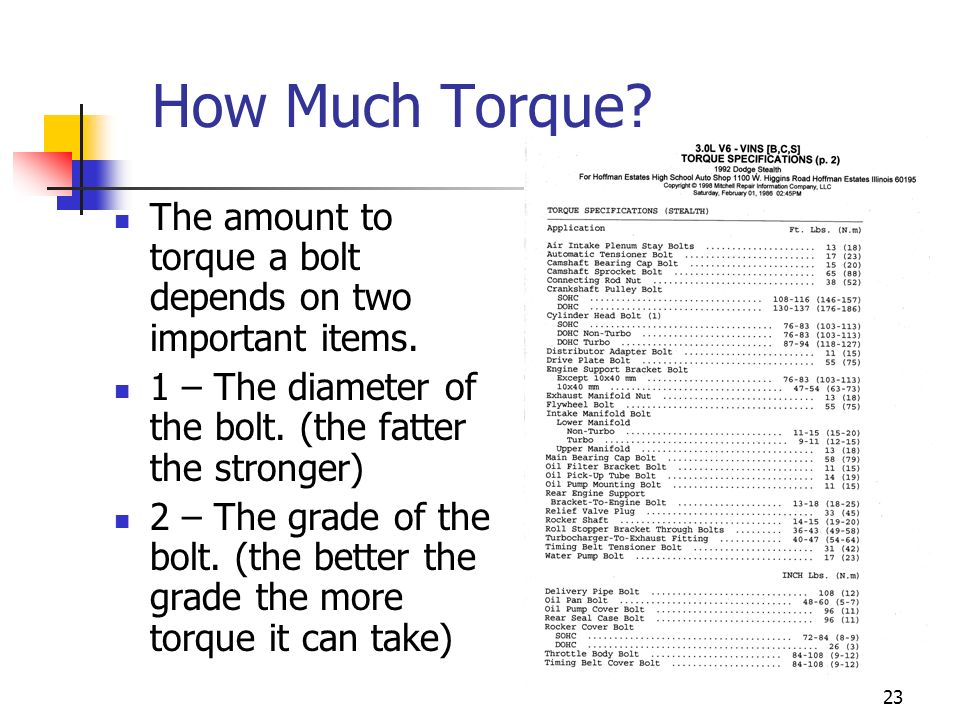 How Much Torque The amount to torque a bolt depends on two important items. 1 – The diameter of the bolt. (the fatter the stronger)