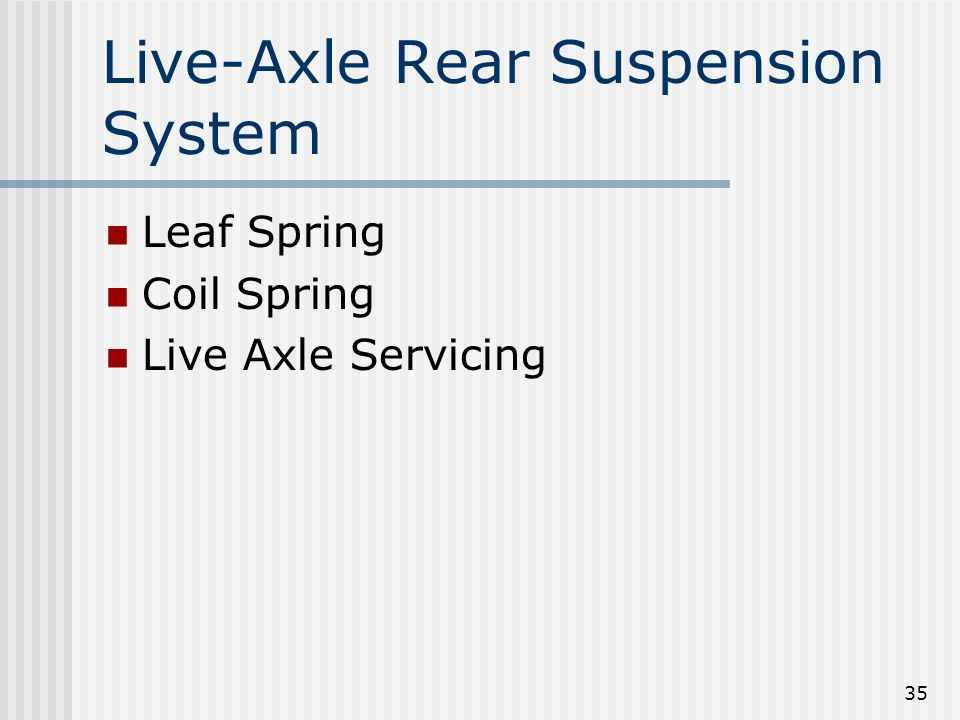Live-Axle Rear Suspension System