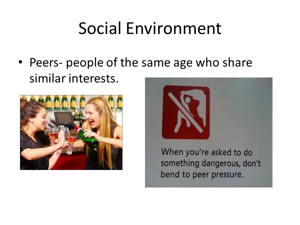 Social Environment Peers- people of the same age who share similar interests.