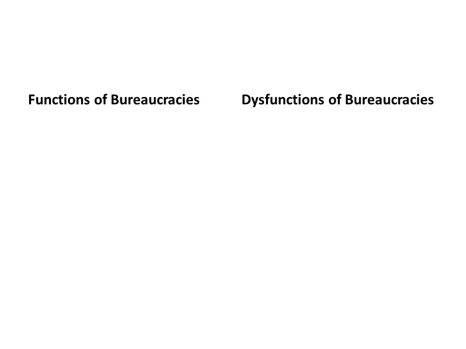 Functions of Bureaucracies