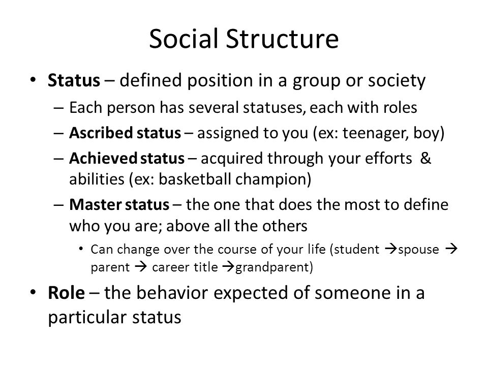 Social Structure Status – defined position in a group or society