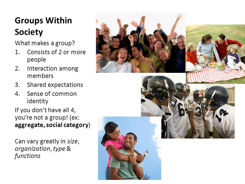 Groups Within Society What makes a group Consists of 2 or more people