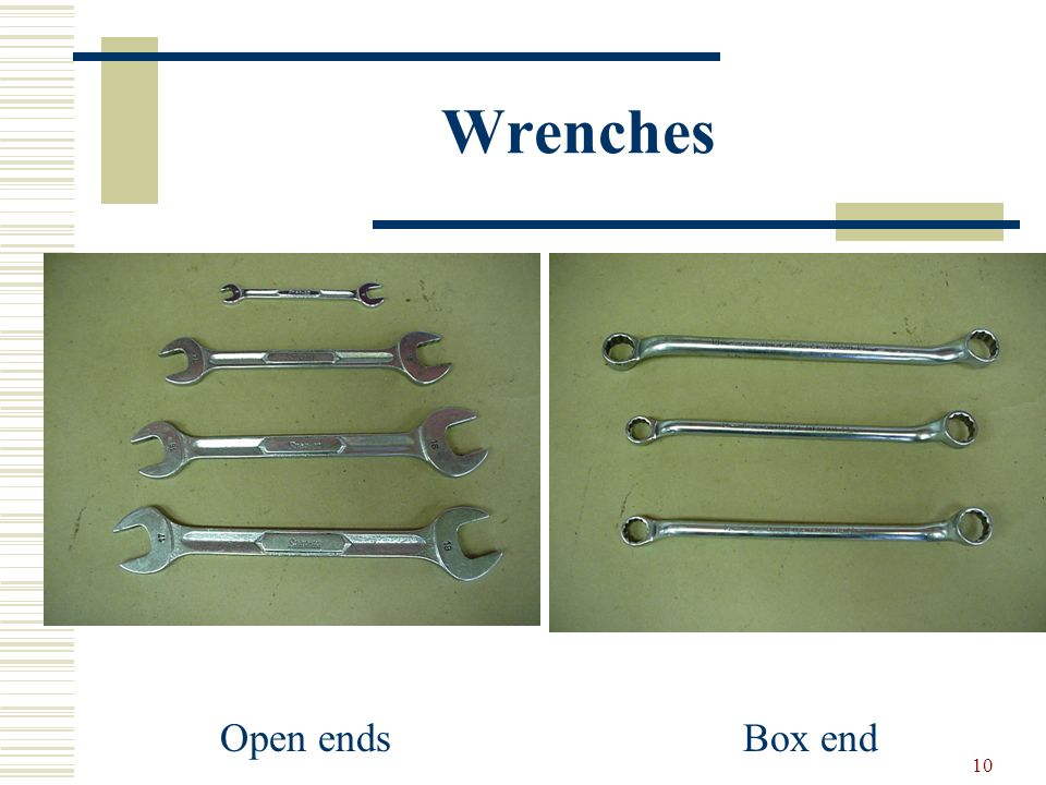 Wrenches Open ends Box end