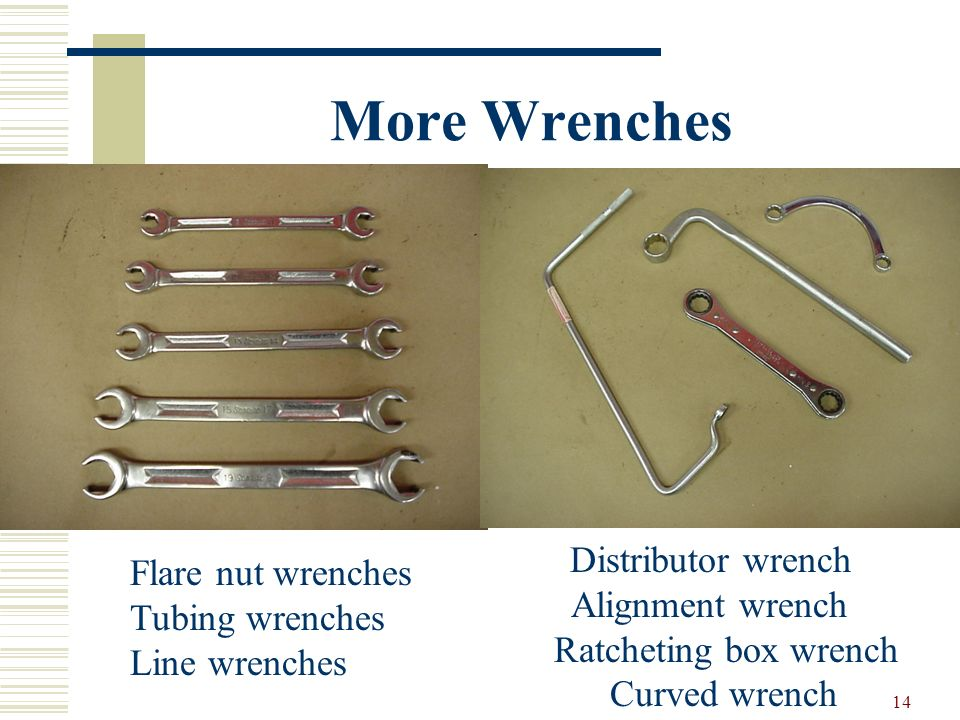 More Wrenches Flare nut wrenches Alignment wrench Tubing wrenches