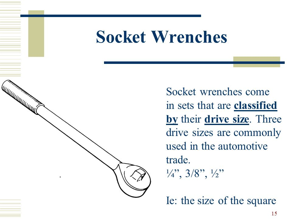 Socket Wrenches Socket wrenches come in sets that are classified