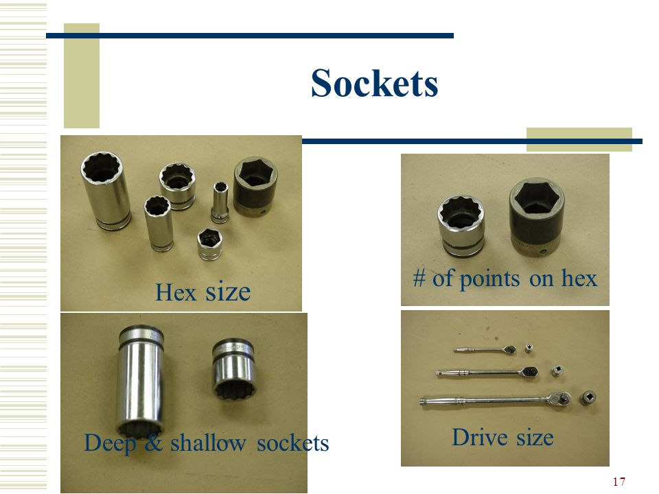 Sockets # of points on hex Hex size Drive size Deep & shallow sockets
