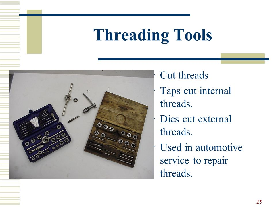 Threading Tools Cut threads Taps cut internal threads.