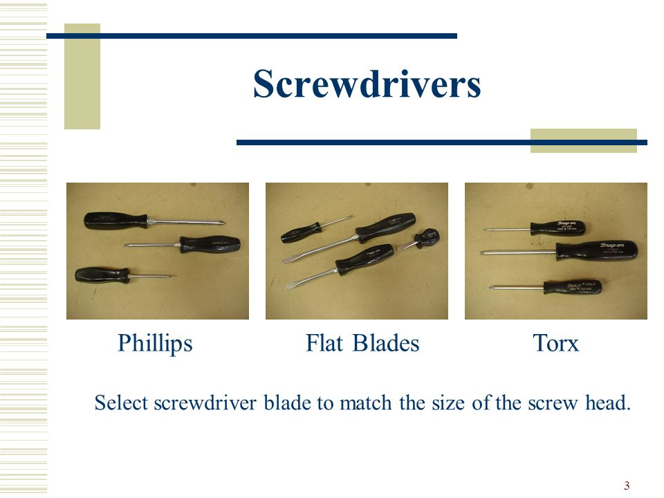 Screwdrivers Phillips Flat Blades Torx