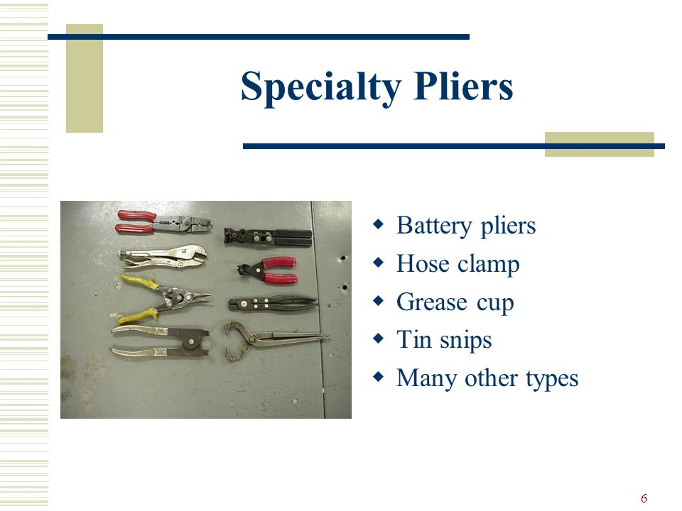 Specialty Pliers Battery pliers Hose clamp Grease cup Tin snips