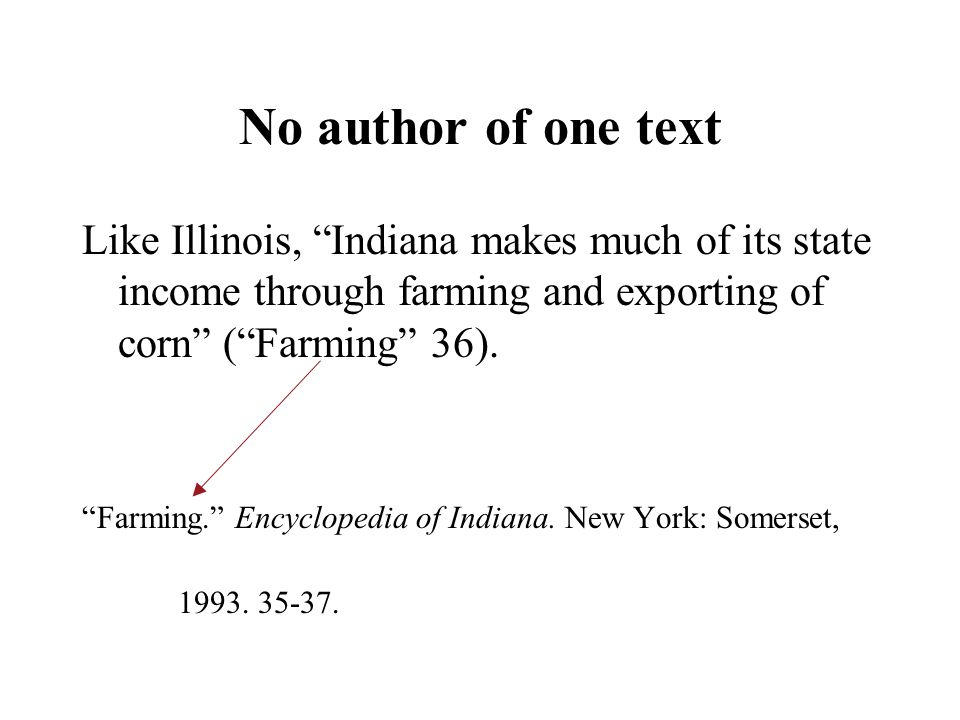 No author of one text Like Illinois, Indiana makes much of its state income through farming and exporting of corn ( Farming 36).