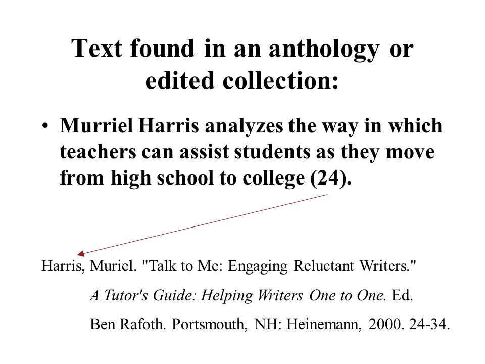 Text found in an anthology or edited collection: