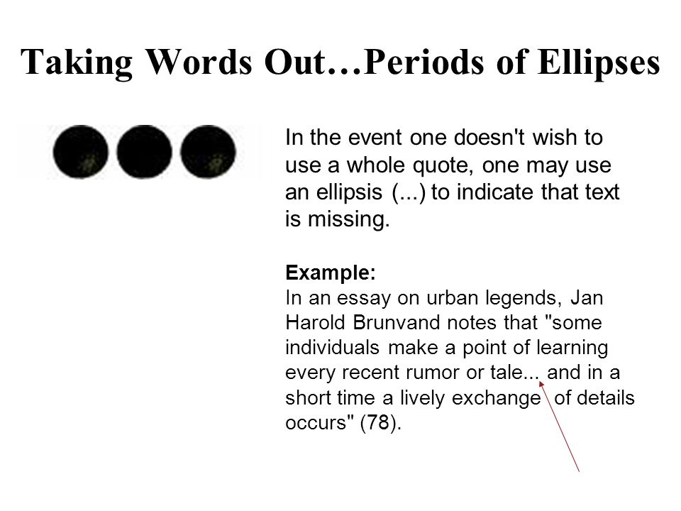 Taking Words Out…Periods of Ellipses