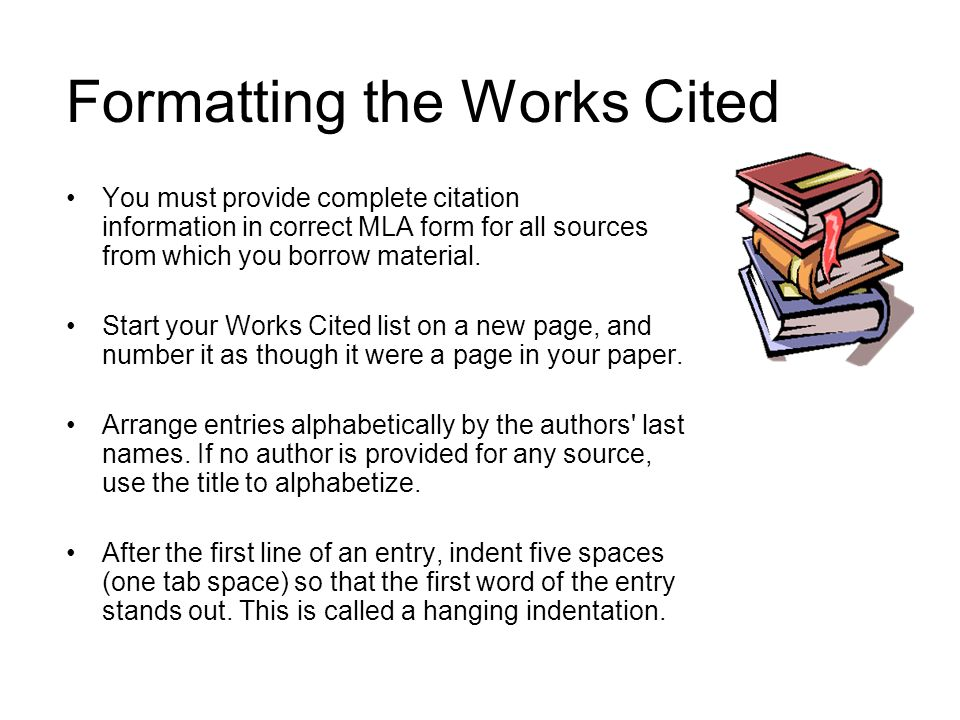 Formatting the Works Cited