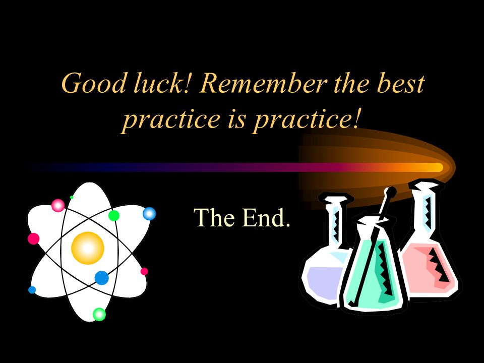 Good luck! Remember the best practice is practice!