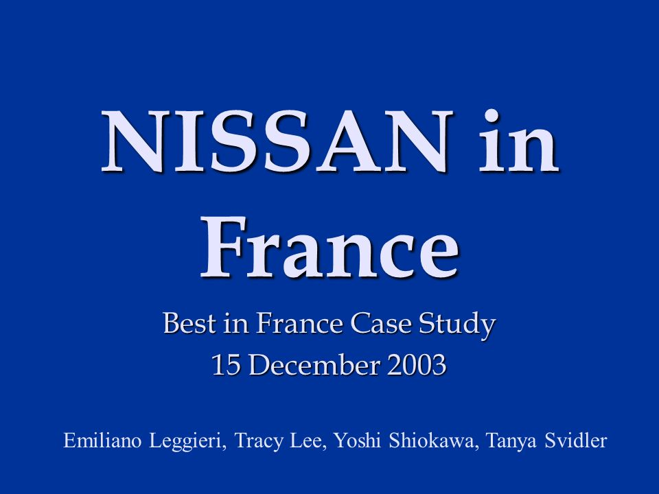nessan case study Building strong ties with the suppliers is considered as a tradition in japan but it also increases the dependency over the suppliers as well which is not a.