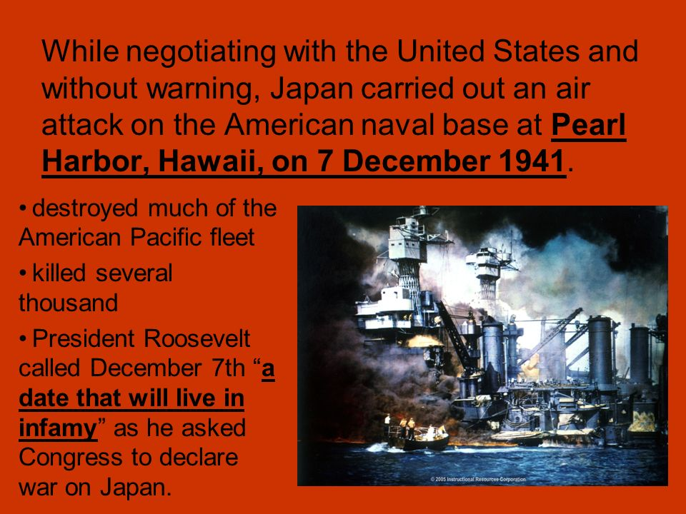 the american and japanese relationship and the pearl harbor attack Question: how did american-japanese relations (on the american side) provoke the japanese attack on pearl harbor shari kuroyama '08 - '09 american provocation of the japanese attack on pearl harbor.
