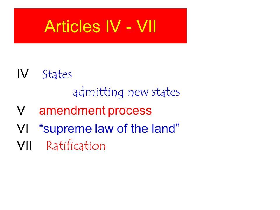 Articles IV - VII IV States admitting new states V amendment process