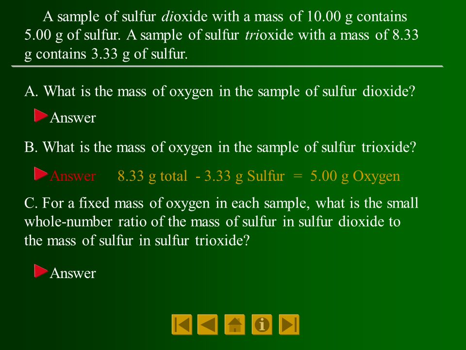 A sample of sulfur dioxide with a mass of g contains 5