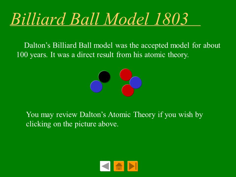 Billiard Ball Model 1803 Dalton's Billiard Ball model was the accepted model for about 100 years. It was a direct result from his atomic theory.