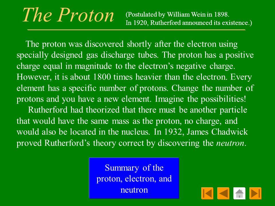 Summary of the proton, electron, and neutron